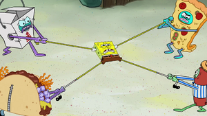 Spongebob caught in the middle