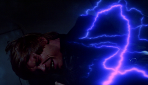 Luke Skywalker being tortured by Emperor Palpatine