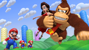 Pauline abducted by Donkey Kong