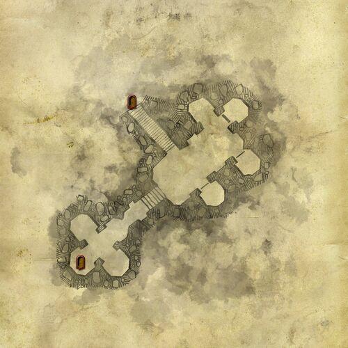 Karte der unterirdischen Kammern des alten Turms