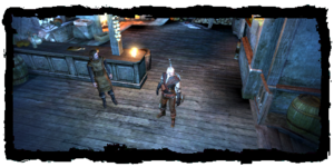 Geralt with the messenger, at the Hairy Bear