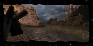 Mauerdurchbruch in den Friedhofssumpf