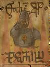 verunstaltetes Anwerbeplakat der königlichen Wache von Temerien