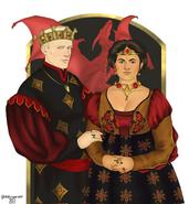 Rey Daeron II y reina Myriah by Chillyravenart©