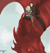 Rhaenys y Laena volando en Meleys by Chillyravenart©