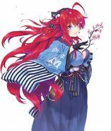 Rias wearing a kimono in Dragon Magazine