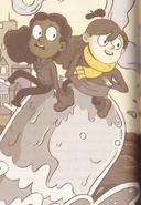 Hilda and Frida riding a water spirit - novelization