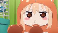 Umaru squeaks to hamsters.