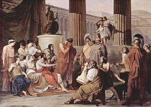 Odysseus Overcome by Demodocus' Song, by Francesco Hayez, 1813–15