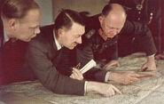 Adolf Hitler & Alfred Jodl analyzing a map