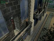 The only moment 47 jumps from one balcony to another in Codename 47.