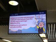 Admiralty remind passengers peak hour difficult to aboard Tsuen Wan Line English version