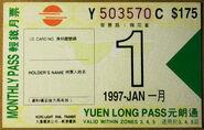 LRT Monthly Pass (Yuen Long Pass) 1997-01