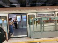 MTR Tsuen Wan Line train in Kwai Hing Station 23-08-2021