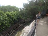 People take photo with peak tram track