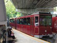 Peak Tram leave Garden Road temporary platform