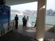 Some people take wedding photo in Tsim Sha Tsui Public Pier