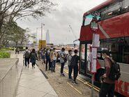 HK Convention & Exhibition Centre bus stop for passengers waiting KMB 900 27-04-2021