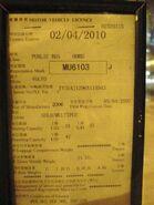 Motor Vehicle Licence KMB