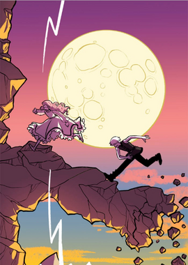 Monica and Damien on the spiral rock.png