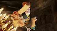Quasimodo swings on a chandelier