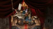 Quasimodo climbs onto the ceiling to dodge the gargoyles