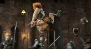 Quasimodo jumps each Suit of Armor causing heads to pop off