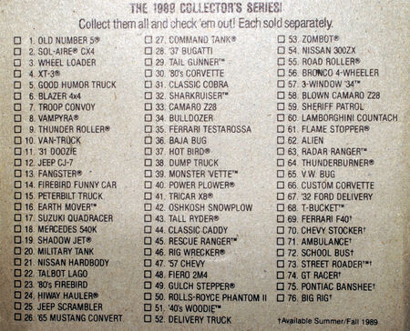The official list of 1989 Hot Wheels.