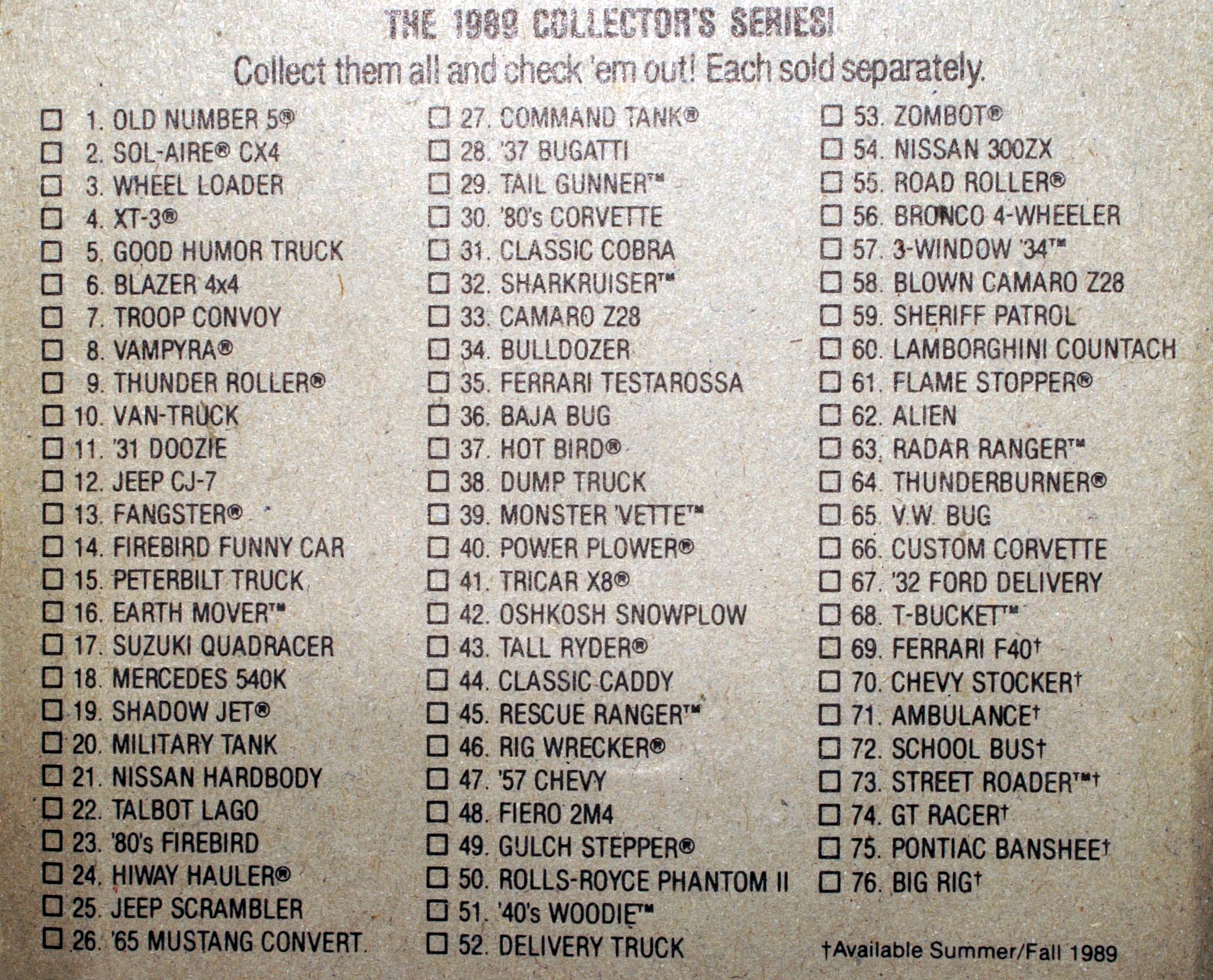 List of 1989 Hot Wheels