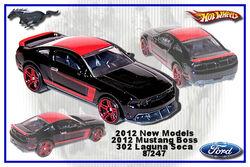 Hot Wheels '12 Ford Mustang Boss 302 Laguna Seca Choice Lot2 Cars per Lot