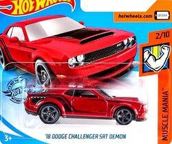 Hot Wheels 2019/'18 Dodge Challenger SRT Demon US long card NOUVEAU /& NEUF dans sa boîte