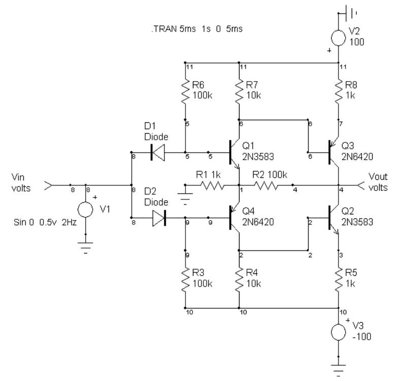 Op-amp voltage booster schematic 200Vpp.png
