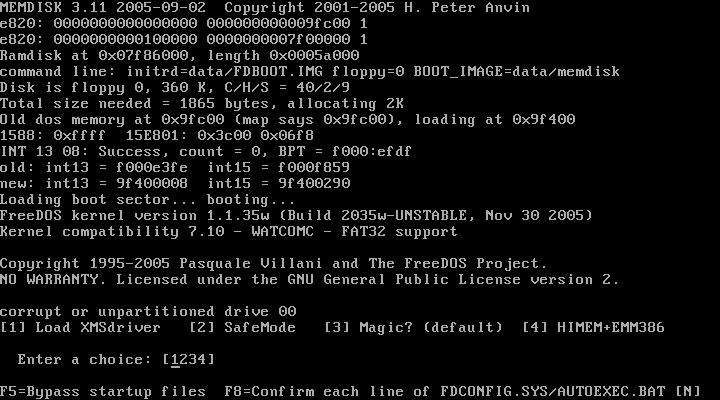 FreeDOS boot menu