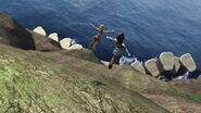 Astrid and Heather having jumped off a cliff