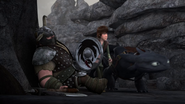 DOB - Hiccup and Toothless arrive and walk past one of Dagur's henchmen knocked out