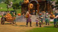 A villager juggling pumpkins