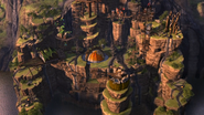 An overview of Dragon's Edge with all the huts