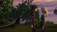Hiccup and Astrid having walked up to each other