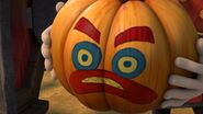 The pumpkin having come out of Magnus' machine