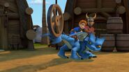 HM - Winger protecting the villager from the wheel