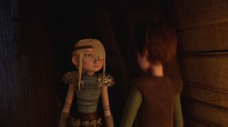 Astrid having come up to Hiccup's room
