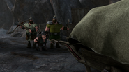 Snotlout groans as the guards wait for the visitors