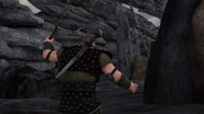 DOB - A Berserker guard tiptoes to look for an intruder on the island
