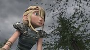 Astrid looking to see what is coming towards them