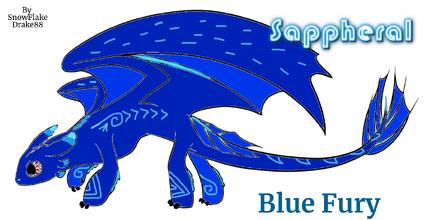 Sappheral, a Blue Fury, by SnowFlakeDrake88