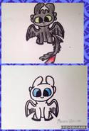 Light Fury Dragon's Baby Fury Drawings