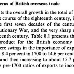 Trade Figures in Britain and US in 1700s