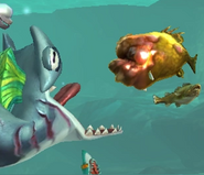 Great hammerhead attack a mutant pustolios