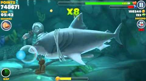 Hungry shark evolution, all 15 sunken (hidden) object locations found in one swim using Megalodon-1419582072