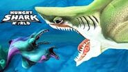 Mutant dolphin and megalodon on artwork